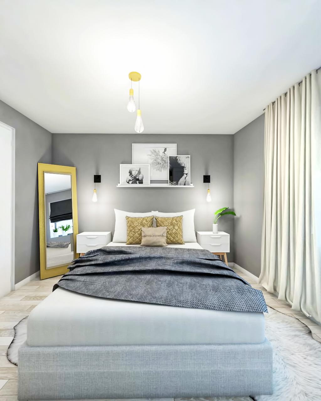 light grey bedroom design  black fox interiors