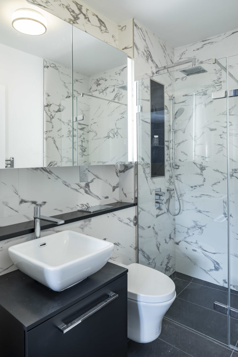 Marble finish wetroom
