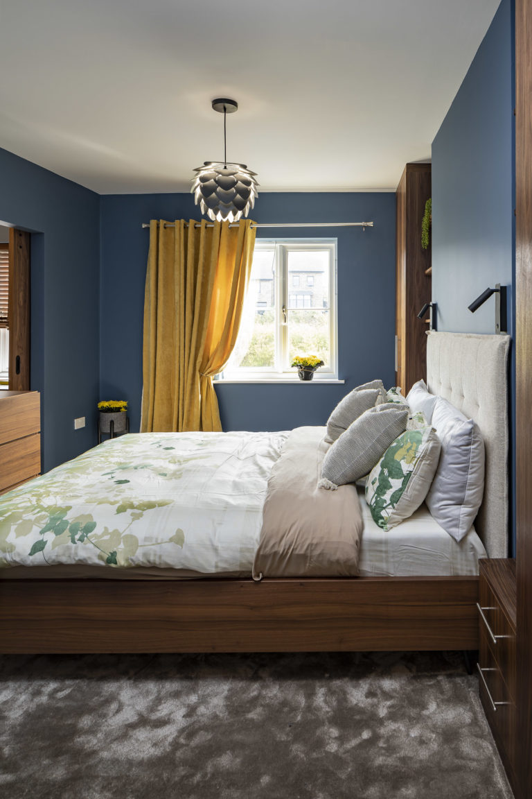 Masculine blue bedroom